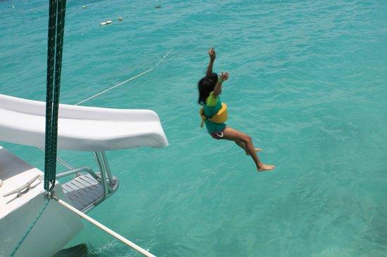 Traveler Catamaran: Enjoying the slide on the boat