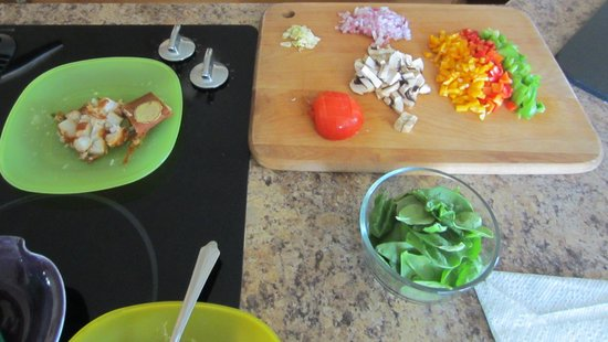 Sunshine House Bed and Breakfast: Mise en place for omelet