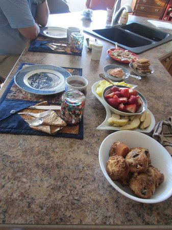 Sunshine House Bed and Breakfast: fruit and muffins(just part of breakfast spread)