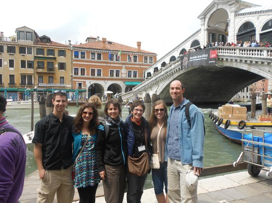 Venice with A Guide : Maria with my family at the Rialto Bridge