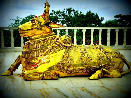 Art of Living International Center: Nandi in front of Vishalakshi mantap