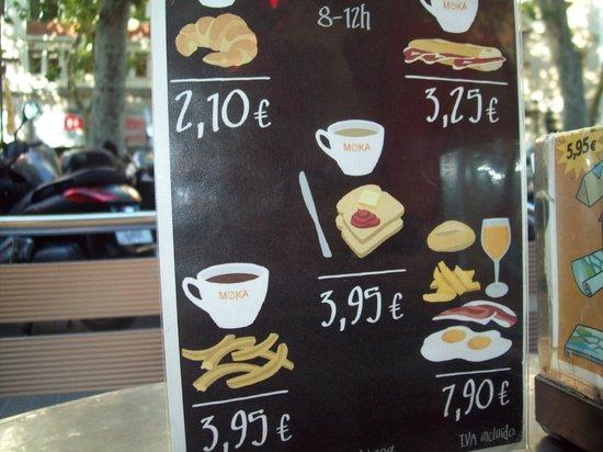 Moka Restaurant Cafeteria : Manù colazione