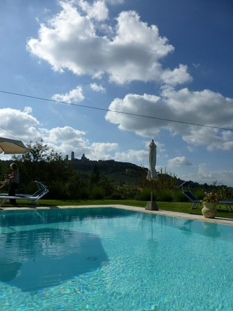 B&B Ponte a Nappo: View of San Gimignano, at the poolside