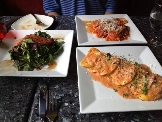 Strega : Lobster ravioli, other ravioli, and lettuce/tomato salad