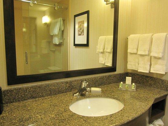 Bathroom lost of toiletries Picture of Hilton Garden Inn Salt
