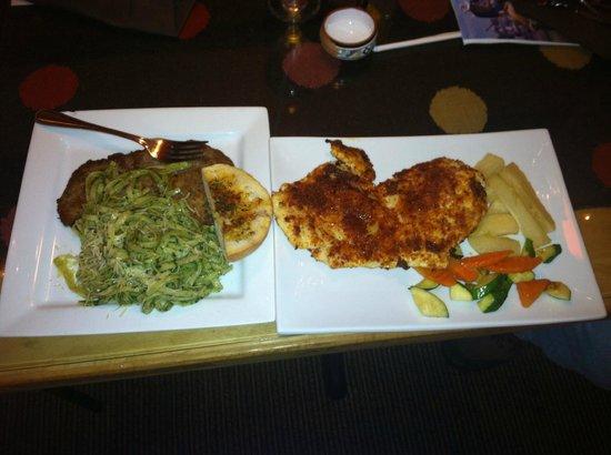 Inti Peruvian Cuisine : pesto noodles & steak (tallarines verdes con apanado) & sun-dried tomato chicken(pollo apanado)
