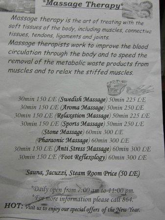 Menu of Spa in OASIS hotel