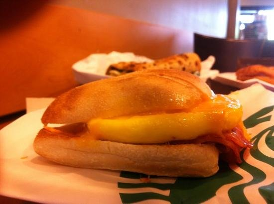 Starbucks: The unloved Artisan Breakfast Sanwich.ham, cheese, egg and a lot of not caring went into this $4