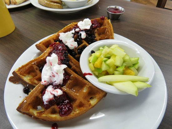 MadeFRESH: Delicious freshly made Waffles- definitely NOT from a package mix. Try the raspberry coulis!