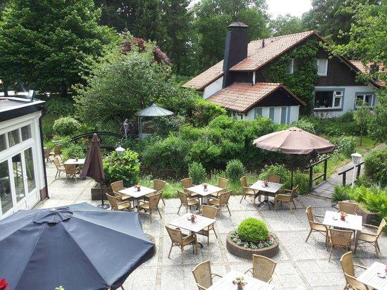 Landgoedhotel Villa Vennendal: Uitzicht vanaf het balkon over het terras