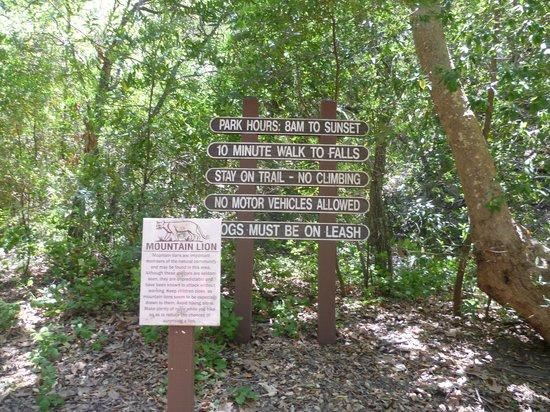 Nojoqui Falls Park: mountain lion warning