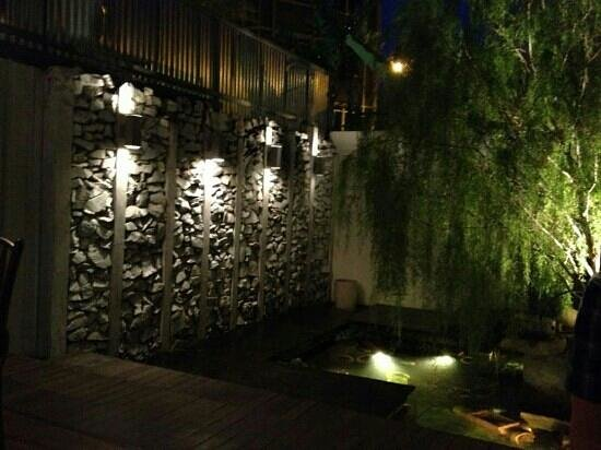 Living Room: Backyard with fountain