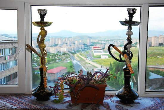 Armenia Hostel: Hookahs available. View from cafeteria