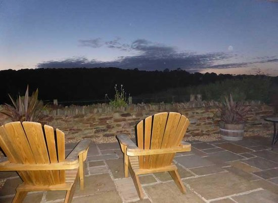 Devon Country Barns: Evening view from the terrace at Meadow Barn.