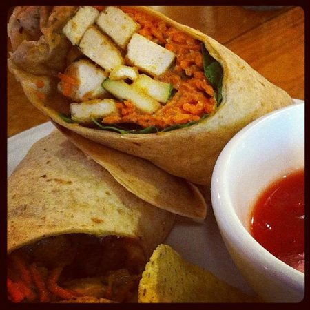 Gillie's Vegetarian Cuisine : Peanut Tofu Wrap with Chips and Salsa