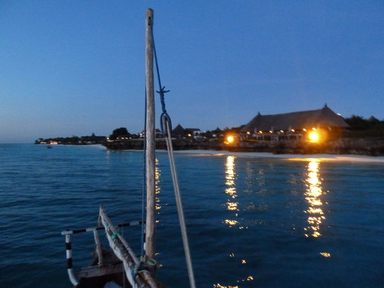 Royal Zanzibar Beach Resort: Returning from an evening cruise with the seaside dining room in the background.