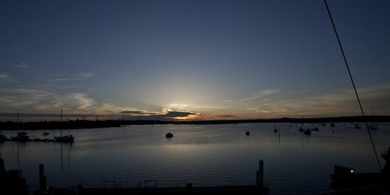 RNLI College: View across Holes bay - sunset