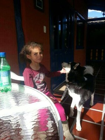 B&B Tumbaco: Naomi with one of the dogs