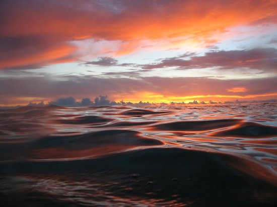 Key Dives: Sunset from the water, waiting to descend on a night dive.