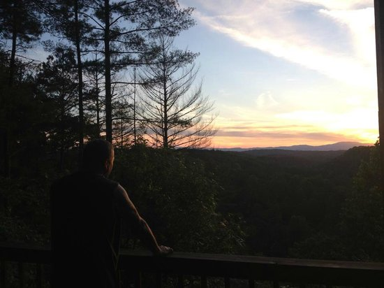 Above the Rest Cabins: view at sunset from porch