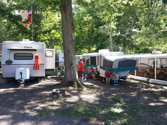Lake Myers RV & Camping Resort: Very shady site - barely enough room for 28' TT with slide.