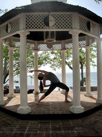 Half Moon: Yoga practice in the beach gazebo