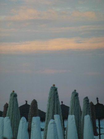 Alcione: Sunset over the umbrellas on the beach