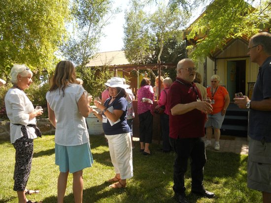 Kuna, ID: Our tour group enjoying IC wines on the grounds