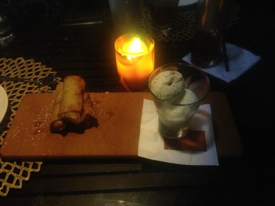 RumFire : Banana lumpia and ice cream dessert