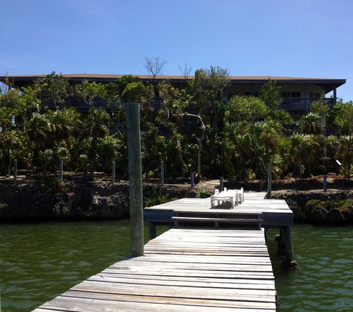 Posada Las Orquideas: View of hotel from dock.