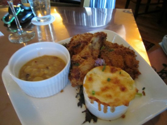 Millstone Tea Room: Buttermilk organic fried chicken with baked beans and oven baked macaroni & cheese