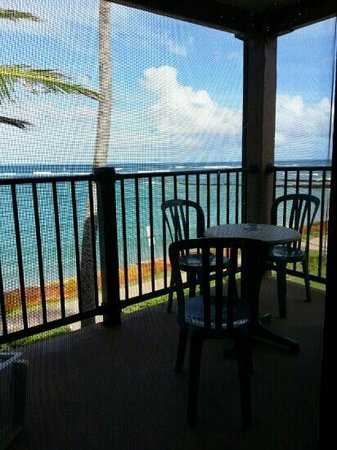 Pono Kai Resort: Looking out our screen door from the living room.