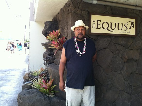 In front of the Equus Hotel