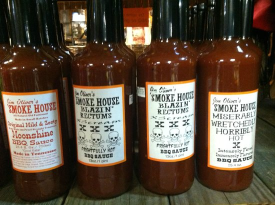 Jim Oliver's Smoke House Restaurant and Old General Store: BBQ sauces at the Smoke House