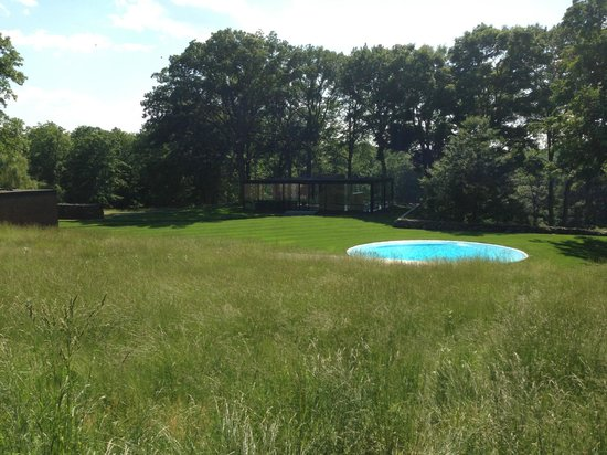 The Philip Johnson Glass House: From left: The Brick House, The Glass House, The Pool