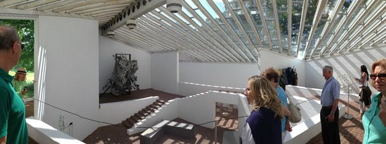 The Philip Johnson Glass House: The interior of the Sculpture Gallery, with works by Frank Stella, Robert Rauschenberg, et. al.