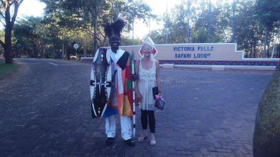 Victoria Falls Safari Club: A freindly warrior on the gate