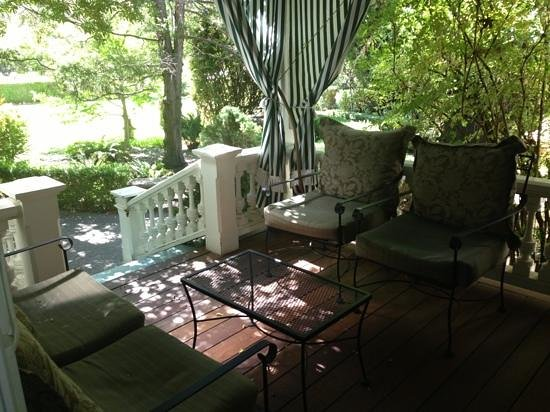 Honor Mansion, A Wine Country Resort: our private porch outside the Wisteria Room