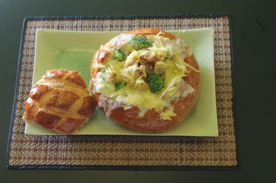 Common Grounds: Chicken Broccoli Cheese Soup in a bread bowl - June & July Special