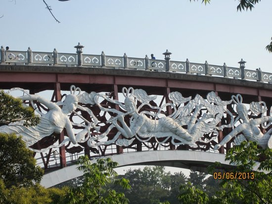 Cheonjeyeon Falls: Seonim bridge with its nymphs