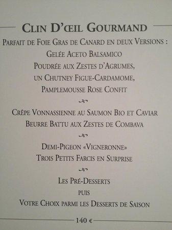 Georges Blanc Parc & Spa : notre menu