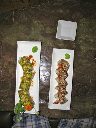 Sushi Main Street: Caterpillar and papaya/unagi rolls