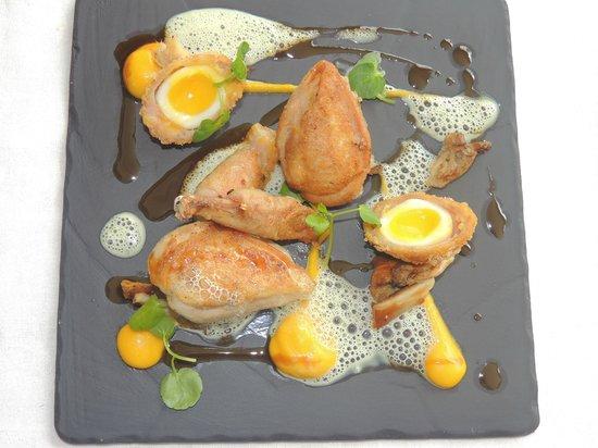 St Kyrans Country House & Restaurant: Roast breast of quail, stuffed leg, scotch egg, oyster mushroom, carrot puree,