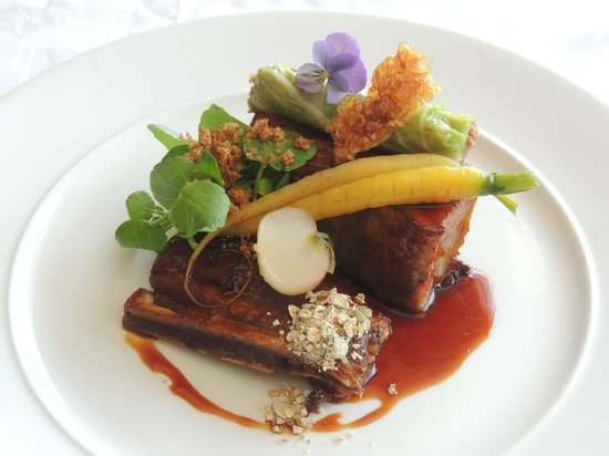 St Kyrans Country House & Restaurant: Belly & short rib, spring cabbage stuffed with shoulder & trotter,cauliflower puree,