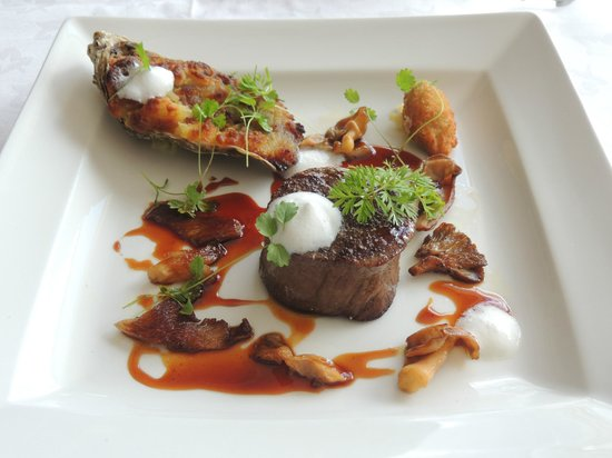 St Kyrans Country House: Grilled fillet, ox-tail braised in Guinness, oyster beignet,