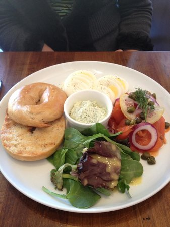 The Joint Cafe : Bagel, smoked salmon, hard boiled egg.