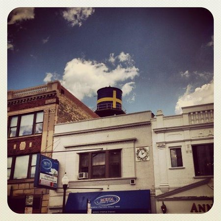 Andersonville : The Swedish Water tower above Midsommarfest.