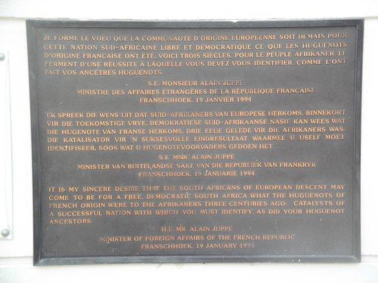 Huguenot Memorial Museum: Plaque