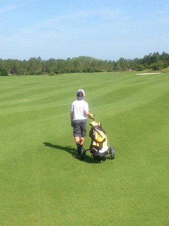 Origins: My son, 9, walking the course with me