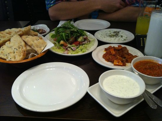 Devran restaurant: the complimentary stuff: fresh salad, tzatziki, bread, chilli and sour cream dip, roasted veg...